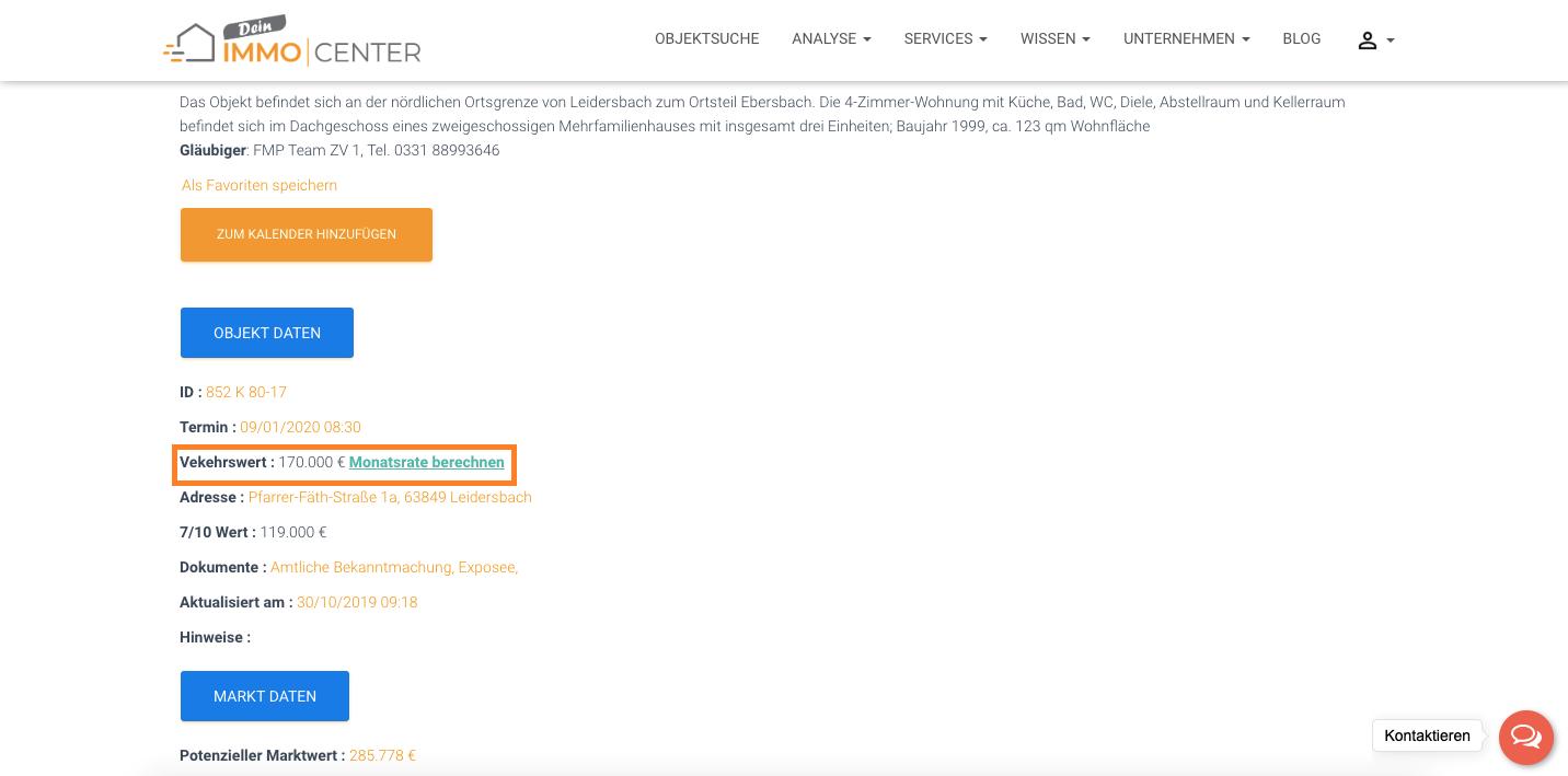 Monatsrate berechnen auf dein-immocenter.ch